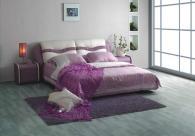 Легло цвят лила тапицирано