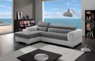 Луксозен диван с лежанка в бяло и сиво