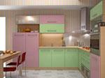Поръчка на кухненско обзавеждане в розово и зелено 587-2616