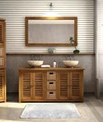 Шкаф за баня от масивна дървесина по поръчка