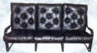 Черен тапициран троен стол
