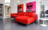 Червен италиански диван с лежанка
